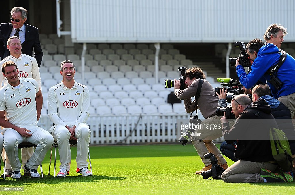 Media interest in Kevin Pietersen of Surrey during the Surrey CCC photocall at The Kia Oval on April 09 2015 in London England
