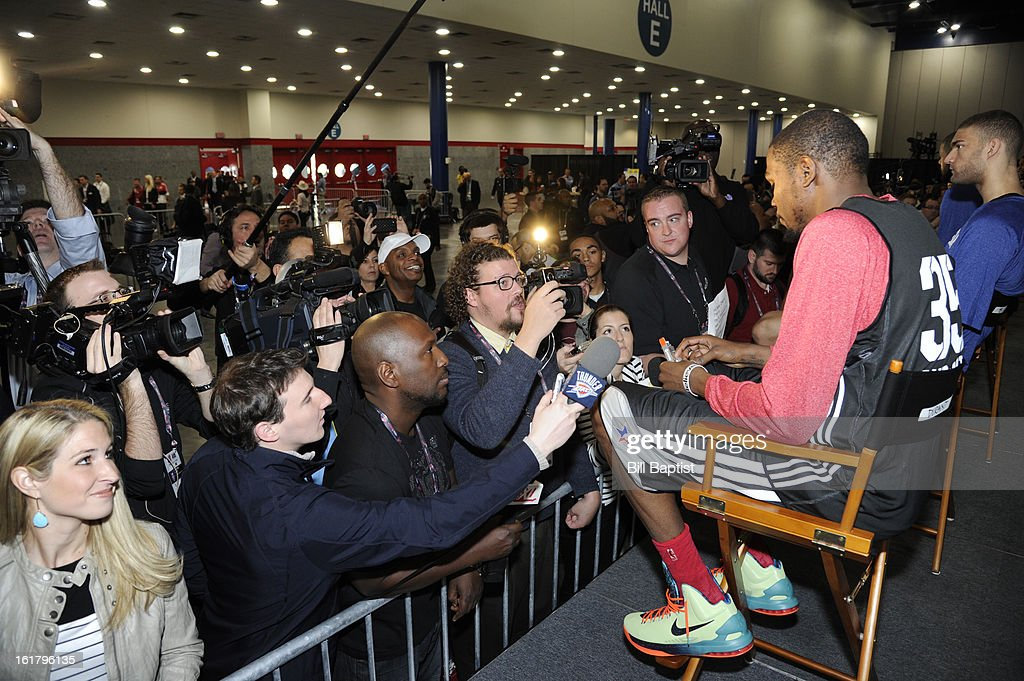 Media interviews Kevin Durant #35 of the Oklahoma City Thunder before the NBA All-Star Practice in Sprint Arena at Jam Session during the NBA All-Star Weekend on February 16, 2013 at the George R. Brown Convention Center in Houston, Texas.
