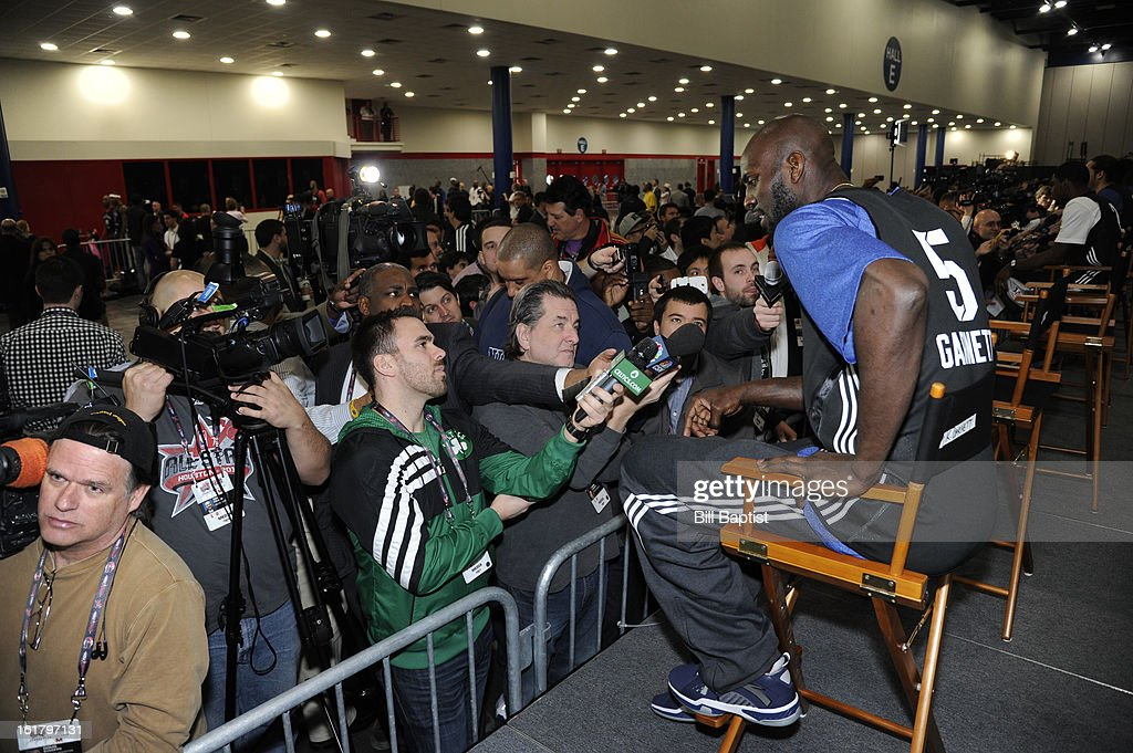 Media interviews Kevin Garnett #5 of the Boston Celtics before the NBA All-Star Practice in Sprint Arena at Jam Session during the NBA All-Star Weekend on February 16, 2013 at the George R. Brown Convention Center in Houston, Texas.