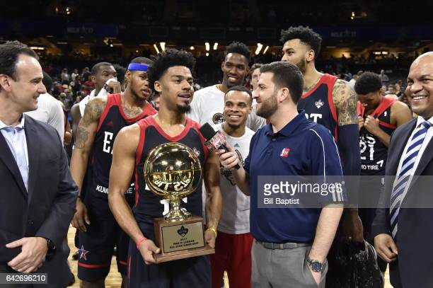 Media interviews Quinn Cook of the East Team after winning the MVP trophy after the 2017 NBA DLeague AllStar Game Presented By Kumho Tire as a part...