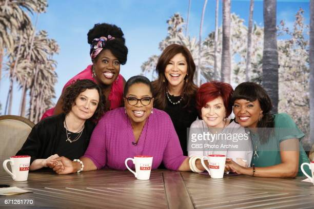 Media legend Oprah Winfrey visits 'The Talk' Monday April 17 2017 on the CBS Television Network From left Sheryl Underwood Sara Gilbert Oprah Winfrey...