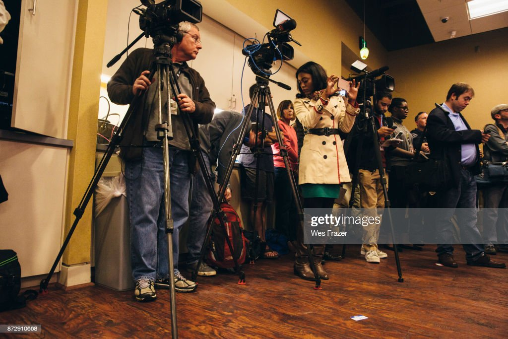 Media line the room during a mid-Alabama Republican Club's Veterans Day event on November 11, 2017 in Vestavia Hills, Alabama. This week Moore's campaign was brought under scrutiny, after being accused of sexual misconduct with underage girls when he was in his 30's.