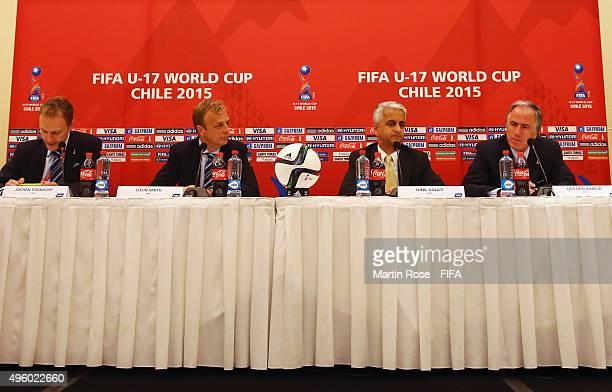 FIFA media manager Jochen Steinhoff Colin Smith FIFA director competitions Sunil Gulati Chairman Organizing Committee FIFA U17 World Cup Chile 2015...
