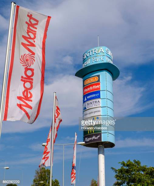 Media Markt banners and main advertising sign at Sintra Retail Park one of four commercial centers owned by The Blackstone Group in Lisbon region on...