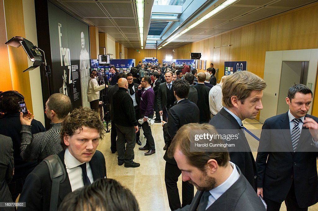 Media memebers gather after the UEFA Champions League and UEFA Europa League quarter final draws at the UEFA headquarters on March 15, 2013 in Nyon, Switzerland.