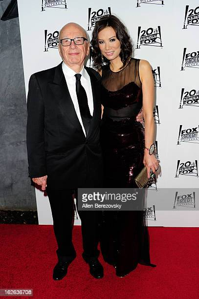Media mogul Rupert Murdoch and his wife Wendi Deng Murdoch attend the 20th Century FOX and FOX Searchlight Academy Award Nominees Party at Lure on...