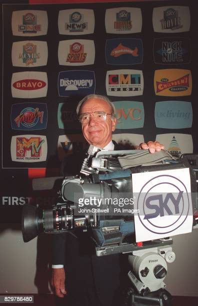 Media mogul Rupert Murdoch at the launch of Sky Television's new multichannel package