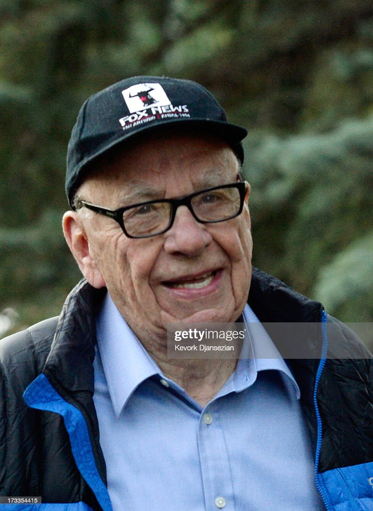 Media mogul Rupert Murdoch, executive chairman of News Corporation and chairman and CEO of 21st Century Fox, arrives at the Allen & Co. annual conference on July 12, 2013 in Sun Valley, Idaho. The resort will host corporate leaders for the 31st annual Allen & Co. media and technology conference where some of the wealthiest and most powerful executives in media, finance, politics and tech gather for week long meetings. Past attendees included Warren Buffett, Bill Gates and Mark Zuckerberg.