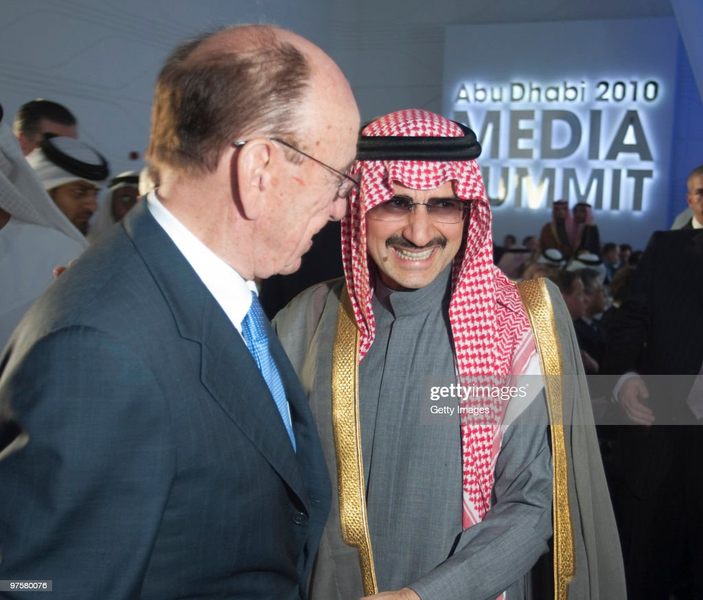 Media mogul <a gi-track='captionPersonalityLinkClicked' href=/galleries/search?phrase=Rupert+Murdoch&family=editorial&specificpeople=160571 ng-click='$event.stopPropagation()'>Rupert Murdoch</a> is greeted by Saudi billionaire Prince Al Waleed bin Talal at the inaugural Abu Dhabi Media Summit, on March 09, 2010 in Abu Dhabi, United Arab Emirates. Featuring a unique combination of high profile public sessions, the summit brings together top-tier global media players and their counterparts from fast growing markets.