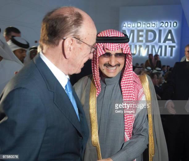Media mogul Rupert Murdoch is greeted by Saudi billionaire Prince Al Waleed bin Talal at the inaugural Abu Dhabi Media Summit on March 09 2010 in Abu...