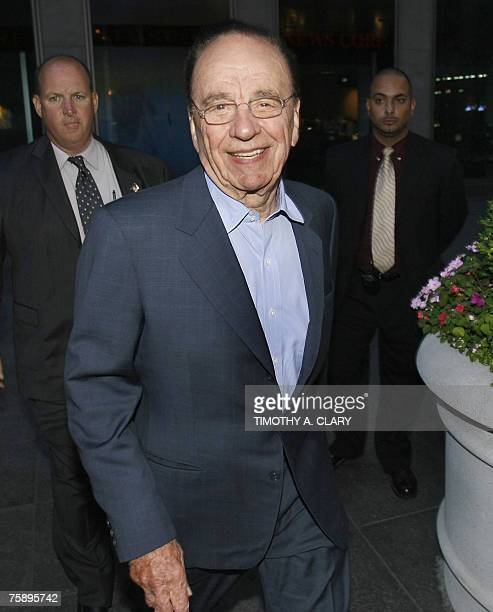 Media mogul Rupert Murdoch leaves the News Corp New York offices 31 July 2007 after The Wall Street Journal reported Murdoch's News Corp appeared to...