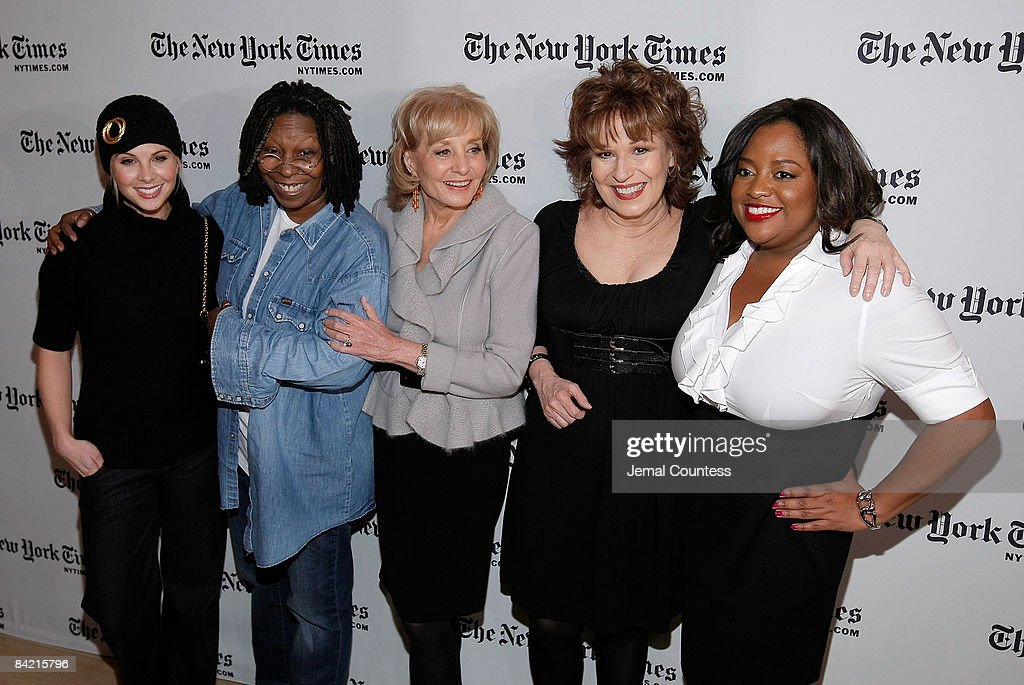 Media personalities Elisabeth Hasselbeck, Whoopi Goldberg, Barbara Walters, Joy Behar and Sherri Sheperd attend the New York Times Art and Leisure Weekend at TheTimesCenter on January 8, 2009 in New York City.