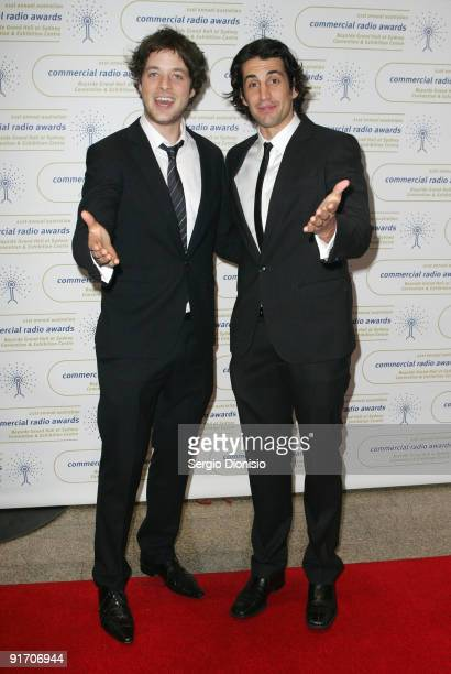 Media personalities Hamish Blake and Andy Lee arrive for the Australian Commercial Radio Awards 2009 at the Sydney Convention Exhibition Centre on...