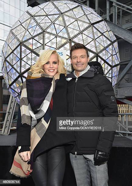 Media personalities Jenny McCarthy and Ryan Seacrest pose for a picture prior to rehearsals for 'Dick Clark's New Year's Rockin' Eve With Ryan...