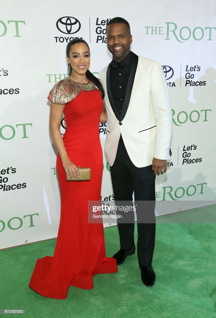 Media Personality Angela Rye and TV personality A.J. Calloway attend The Root 100 gala at Guastavino's on November 9, 2017 in New York City.