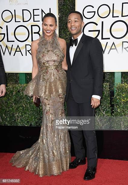 Media Personality Chrissy Teigen and musician John Legend attend the 74th Annual Golden Globe Awards at The Beverly Hilton Hotel on January 8 2017 in...