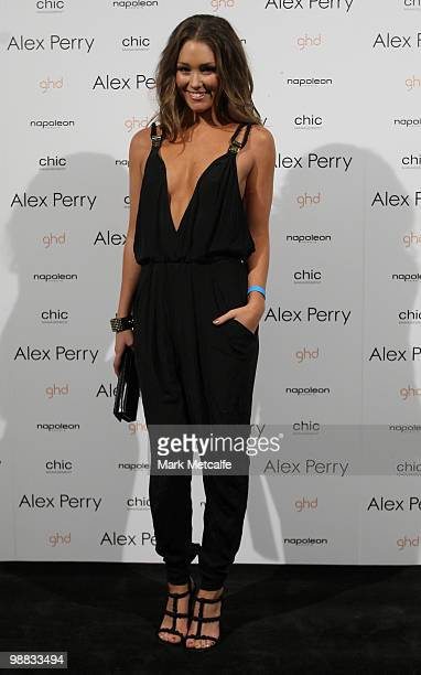 Media personality Erin McNaught arrives at the Alex Perry collection show on the second day of Rosemount Australian Fashion Week Spring/Summer...