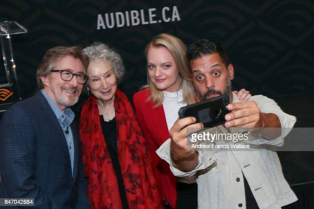 Media personality George Stroumboulopoulos takes a selfie with author Margaret Atwood actress Elisabeth Moss and Don Katz CEO of Audible after a live...