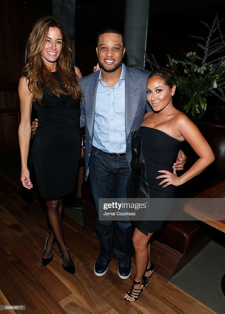 Media personality Kelly Bensimon, New York Yankee Robinson Cano and actress/singer Adrienne Bailon attend the Baron Tequila Launch Party at Butter Restaurant on November 19, 2013 in New York City.