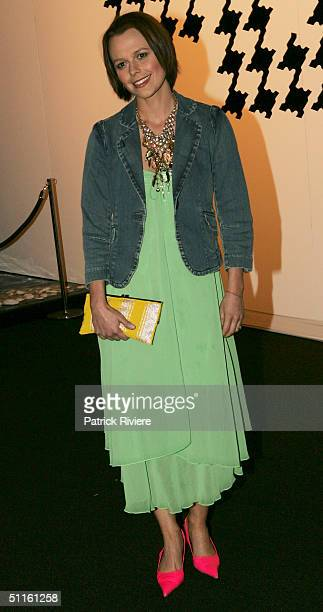 Media personality Mia Freedman arrives at the David Jones Spring Summer Collections Launch at the Cook Phillip Park August 11 2004 in Sydney Australia
