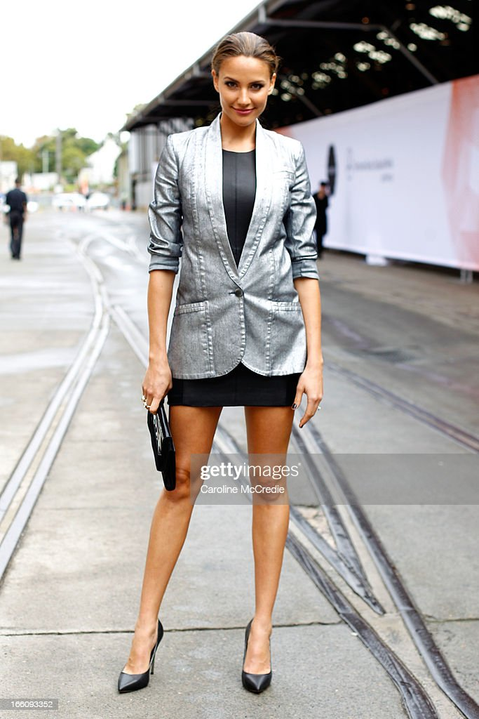 Media personality Rachael Finch wears an outfit by Ginger and Smart and carries a bag by Nude at Mercedes-Benz Fashion Week Australia Spring/Summer 2013/14 at Carriageworks on April 9, 2013 in Sydney, Australia.