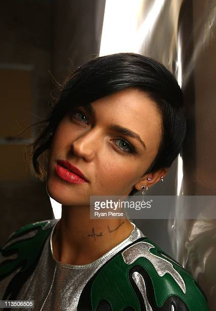 Media personality Ruby Rose poses ahead of the Therese Rawsthorne catwalk during Rosemount Australian Fashion Week Spring/Summer 2011/12 at The...
