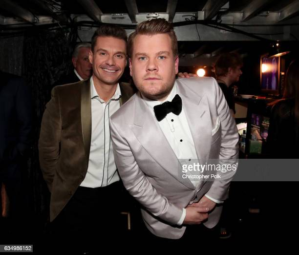 Media Personality Ryan Seacrest and GRAMMY Awards host James Corden attend The 59th GRAMMY Awards at STAPLES Center on February 12 2017 in Los...