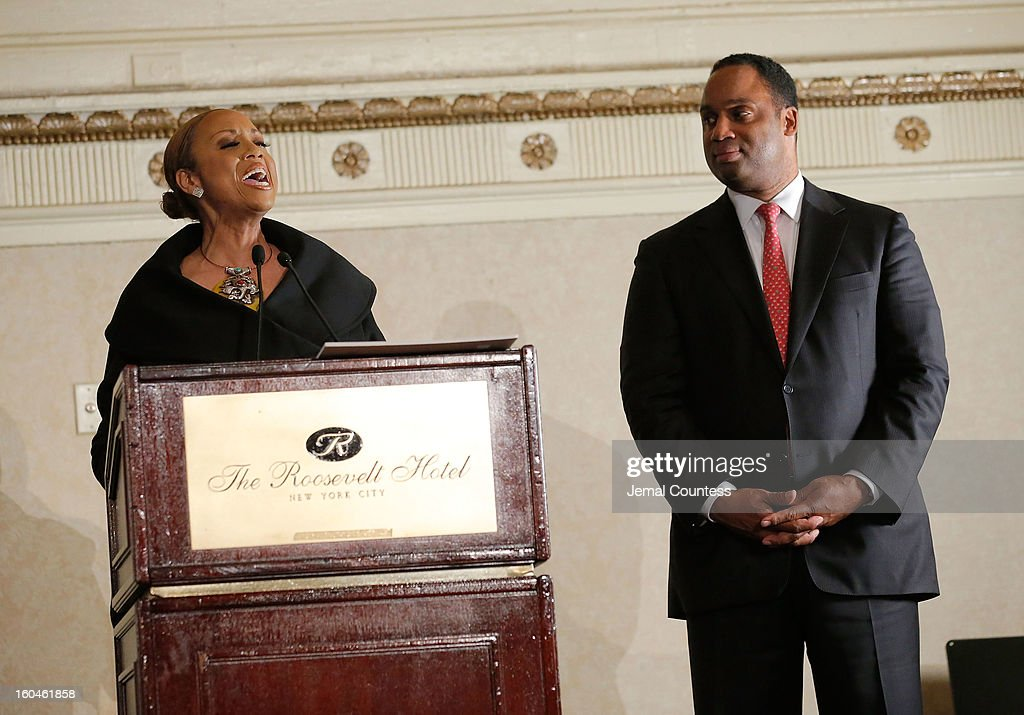 Media personality Santita Jackson and Jonathan Jackson onstage at The 16th Annual Wall Street Project Economic Summit - Day 1 at The Roosevelt Hotel on January 31, 2013 in New York City.