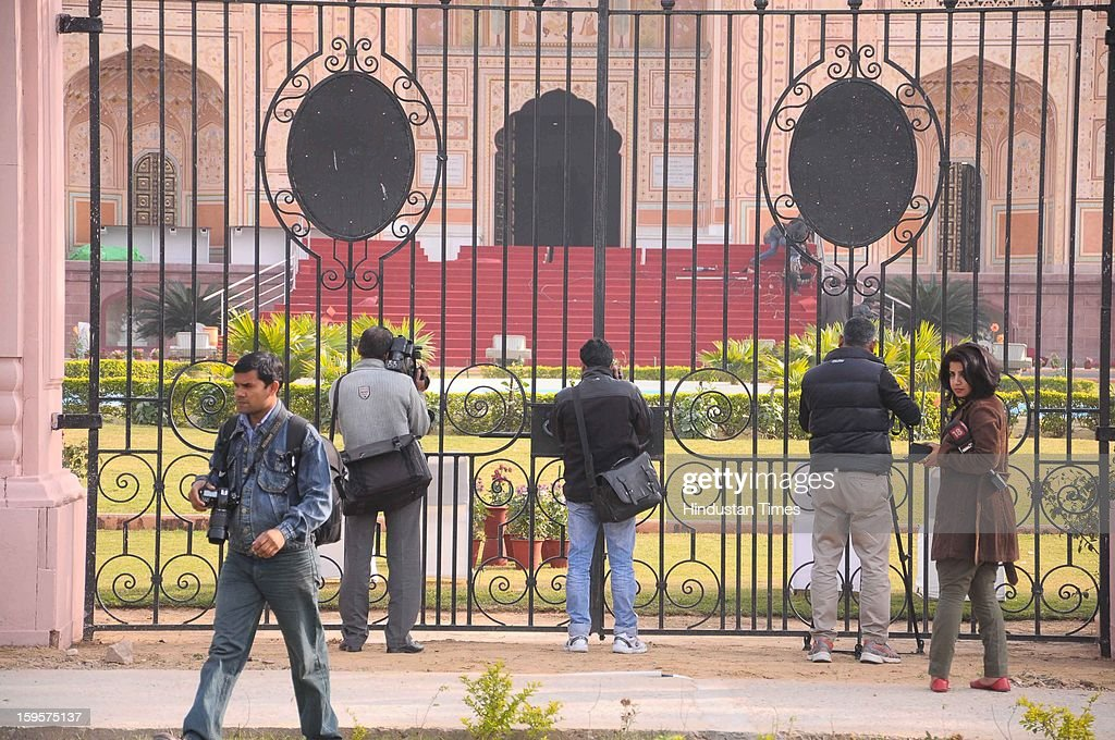 Media persons cover preparations of All India Congress Committee's Chintan Shivir to be held from January 18 - 20 at B M Birla Science and Technology Centre, on January 16, 2013 in Jaipur, India. The three day meet will be attended by Prime Minister Manmohan Singh and UPA Chairperson Sonia Gandhi.
