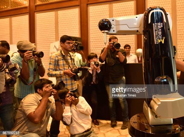 Media persons during the launch of TAL Brabo Robots in two variants priced between Rs 5 and 7 lakh aimed at catering to small and medium enterprises...
