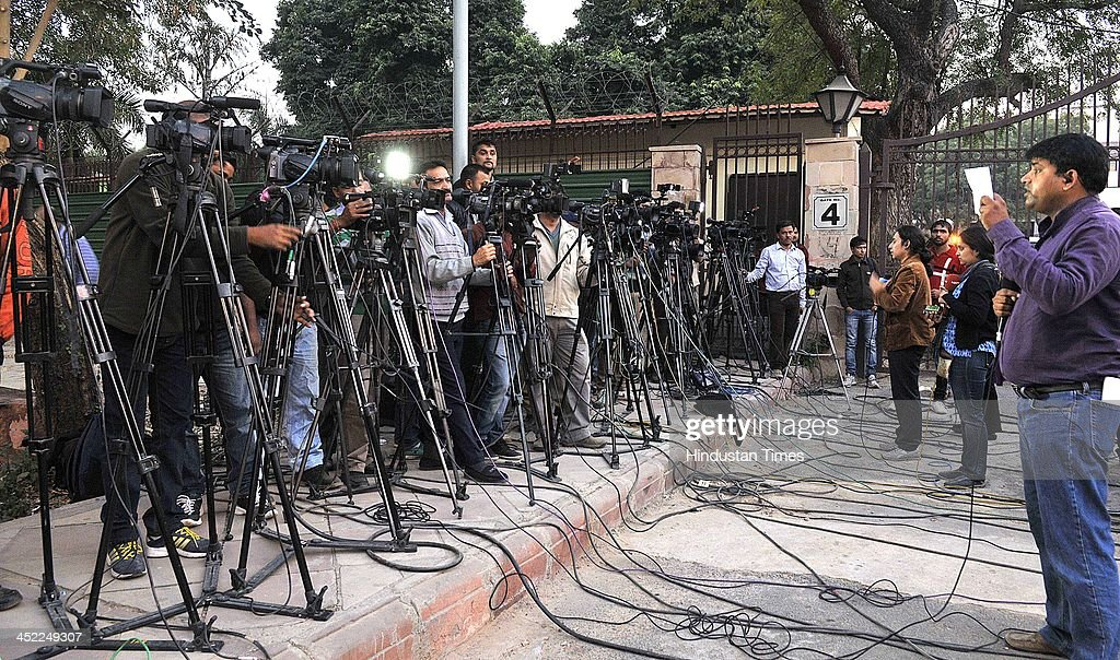 Media persons gather outside high court during court hearing for the anticipatory bail of Tejpal after he was allegedly charged of sexual assault of her employee on November 27, 2013 in New Delhi, India. Delhi High Court has reserved its order on the Tejpal's anticipatory bail till November 29. The Tehelka editor, in his bail plea, had denied the allegation and accused Goa Chief Minister Manohar Parrikar of taking undue interest in the case. Tejpal has claimed that he was falsely implicated in the case at the behest of BJP.