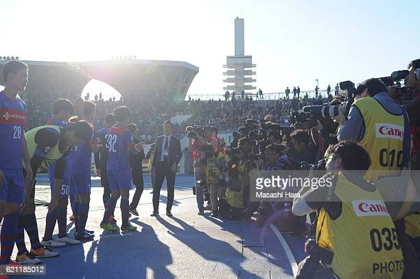 Media photographers follow Takefusa Kubo as he made debut after the JLeague third division match between FC Tokyo U23 and AC Nagano Parceiro at...