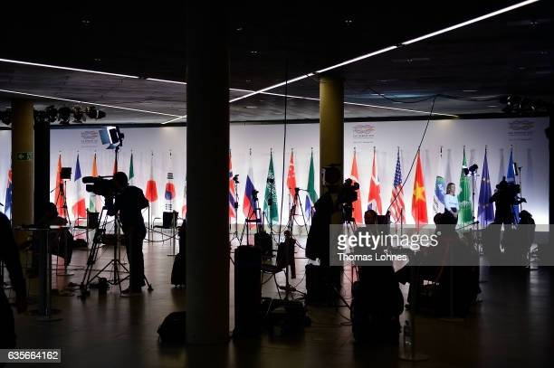Media pictured at the G20 foreign ministers' meeting on February 16 2017 in Bonn Germany The meeting is the first occasion that highlevel diplomats...