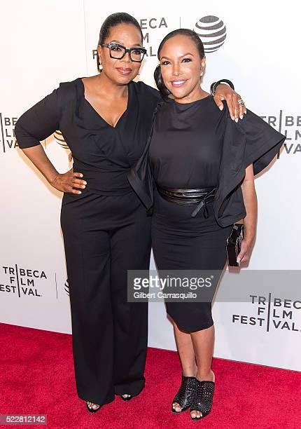 Media proprietor actress producer talk show host and philanthropist Oprah Winfrey and actress Lynn Whitfield attend Tribeca Tune In 'Greenleaf'...