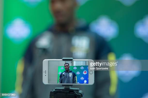 Media records Clemson defensive back Cordrea Tankersley as he answers questions during the NFL Scouting Combine on March 5 2017 at Lucas Oil Stadium...