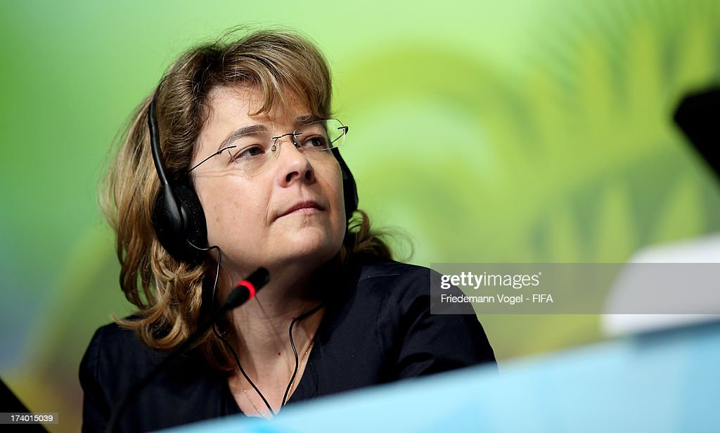FIFA media relations manager Delia Fischer attends the media briefing to announce the ticketing strategy for the 2014 FIFA World Cup at the Hotel Renaissance on July 19, 2013 in Sao Paulo, Brazil.