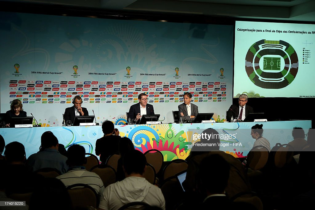 FIFA media relations manager Delia Fischer, Cafu, FIFA Marketing Director Thierry Weil, Secretary of Brazil Sports Ministry Luis Fernandes and CEO of the LOC Ricardo Trade attend the media briefing to announce the ticketing strategy for the 2014 FIFA World Cup at the Hotel Renaissance on July 19, 2013 in Sao Paulo, Brazil.