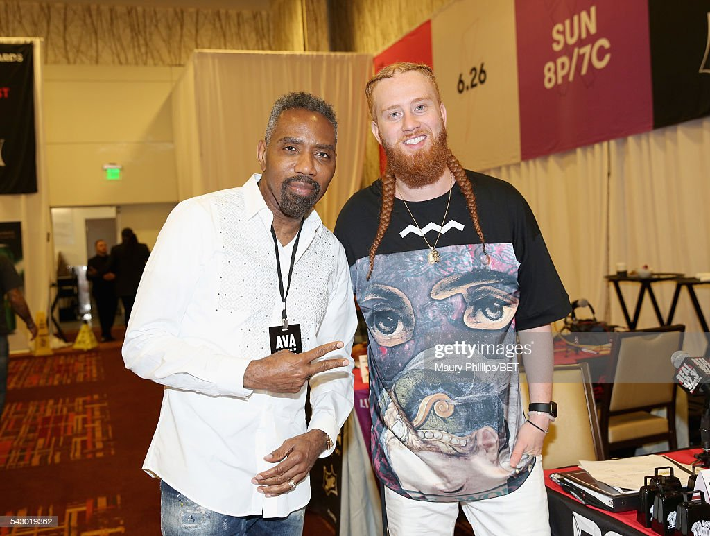 Media Sales President Louis Carr (L) and DJ A-OH attend the radio broadcast center during the 2016 BET Experience at the JW Marriott Los Angeles L.A. Live on June 25, 2016 in Los Angeles, California.