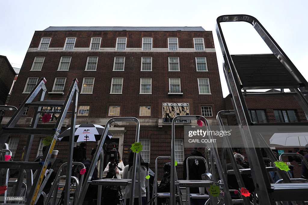 Media Stepladders are pictured outside the Lindo Wing of Saint Mary's Hospital in London, on July 12, 2013, where Prince William and his wife Catherine's baby will be born. Britain's royal family and the world's media are on tenterhooks awaiting the birth of Prince William and wife Catherine's first child, a baby who will one day be king or queen of Britain and a diverse group of commonwealth countries.