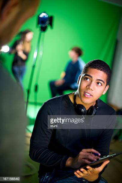 media student in the studio