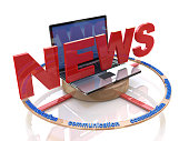 Media. Text NEWS. Laptop with the word news. Online news in the design of information related to the communications and information