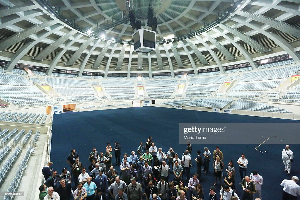 Media tour Maracanazinho Arena during the 1st World Press Briefing for the Rio 2016 Olympic Games on October 23, 2013 in Rio de Janeiro, Brazil. Preparations for the Rio 2016 Olympic Games are continuing and the venue will host the indoor volleyball competitions during the Games.