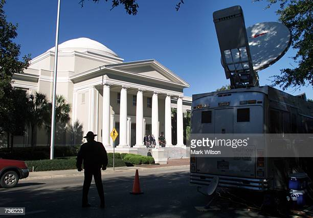 A Media truck is parked in front of the Florida State Supreme Court Building November 15 2000 in Tallahassee FL