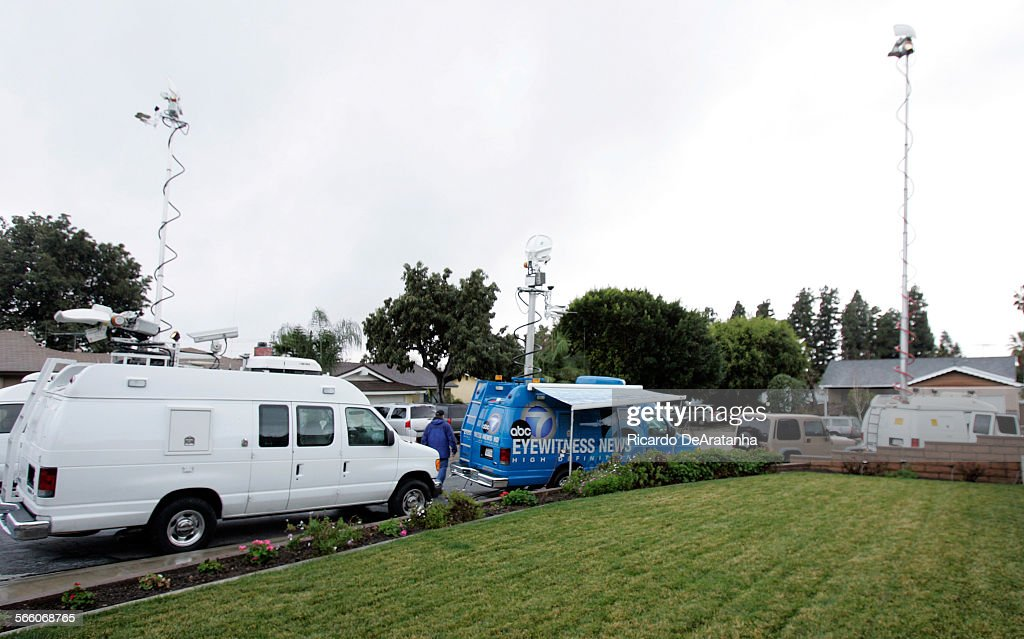 WHITTIER CA – FEBRUARY 05 2009 – Media vehicles parked on the 13600 block of Sunrise Ave near the house where Nadya Suleman the octuplets mother...