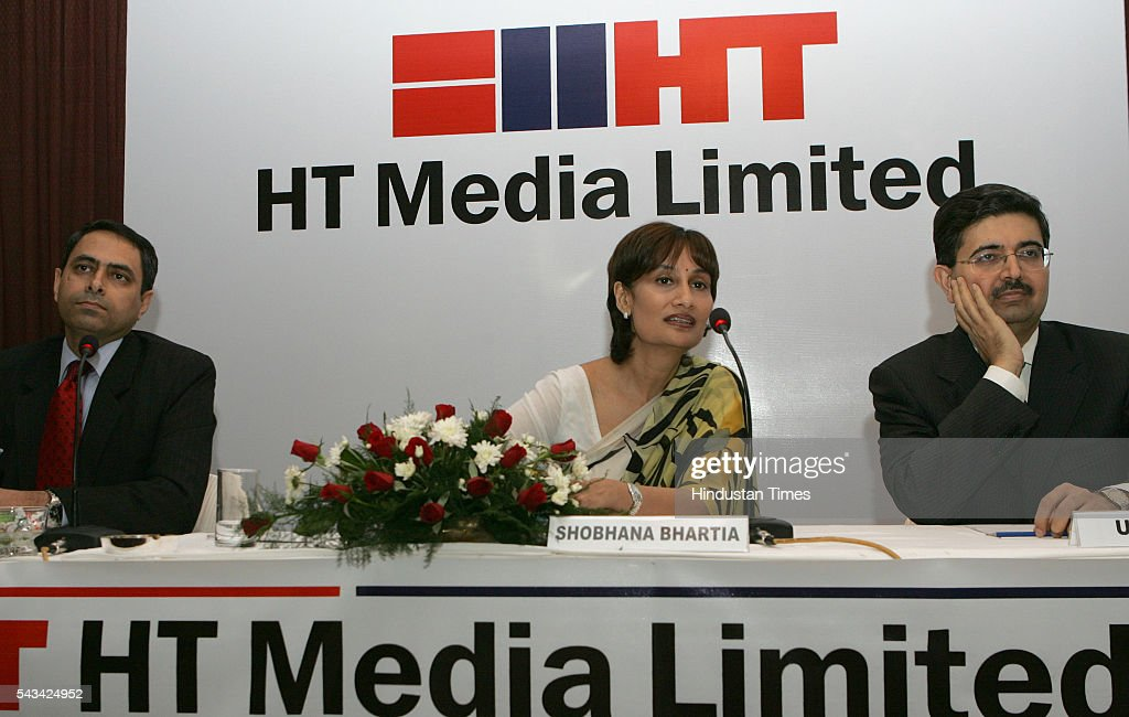 HT Media Vice Chairperson and Editorial Director Shobhana Bhartia, Kotak Bank VC and MD Uday Kotak and HT Media Finance Director Ravi Seth (L) addressing the press conference for HT media IPO on August 3, 2016 in Mumbai, India.
