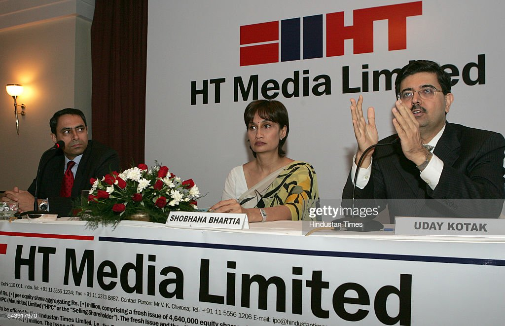 HT Media Vice Chairperson and Editorial Director Shobhana Bhartia, Kotak Bank VC and MD Uday Kotak and HT Media Finance Director Ravi Seth addressing the press conference for HT media IPO.