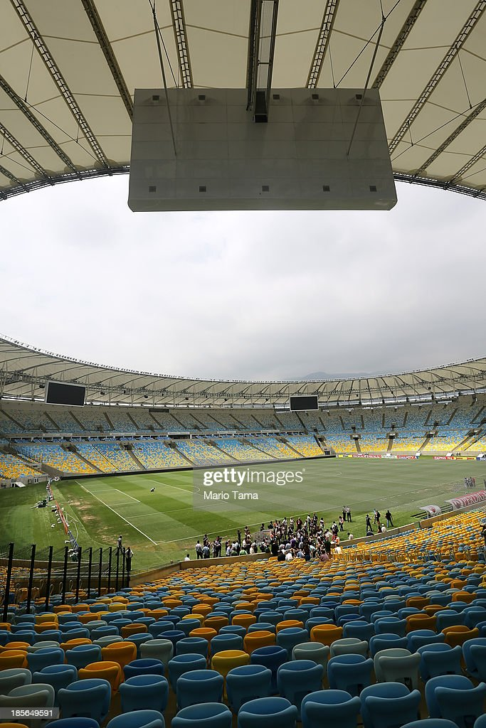 Media view Maracana Stadium during the 1st World Press Briefing for the Rio 2016 Olympic Games on October 23, 2013 in Rio de Janeiro, Brazil. Preparations for the Rio 2016 Olympic Games are continuing and the venue will host the Opening Ceremony, Closing Ceremony and football finals during the Games.