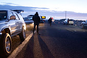 Media wait at a checkpoint about 4 miles from the Malheur Wildlife Refuge Headquarters near Burns Oregon on February 11 2016 The FBI surrounded the...