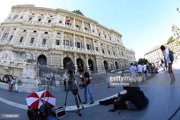 Media wait in front of the 'Corte di Cassazione' during the final session to judge former Italian Prime Minister Silvio Berlusconi on July 31 2013 in...