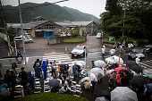 Media waiting in front of the main gate of Tsukui Yamayurien building of the crime scene Police arrested 26yearold Satoshi Uematsu after killing 19...